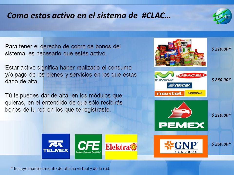 Como estas activo en el sistema de #CLAC… Para tener el derecho de cobro de bonos del sistema, es necesario que estés activo.