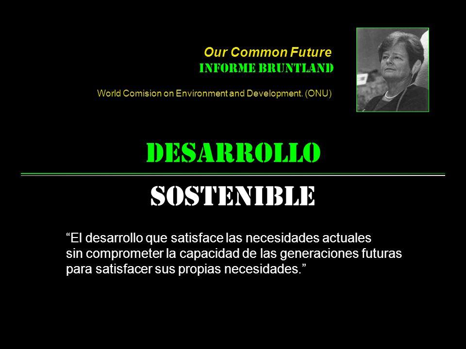 desarrollo Sostenible El desarrollo que satisface las necesidades actuales sin comprometer la capacidad de las generaciones futuras para satisfacer sus propias necesidades.