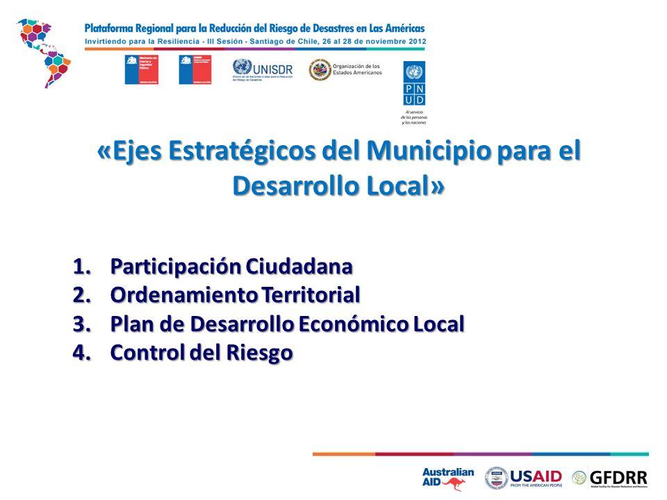 «Ejes Estratégicos del Municipio para el Desarrollo Local» 1.Participación Ciudadana 2.Ordenamiento Territorial 3.Plan de Desarrollo Económico Local 4