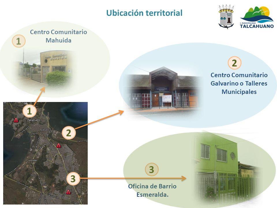 1 2 3 Centro Comunitario Mahuida 1 Centro Comunitario Galvarino o Talleres Municipales 2 3 Oficina de Barrio Esmeralda. Ubicación territorial