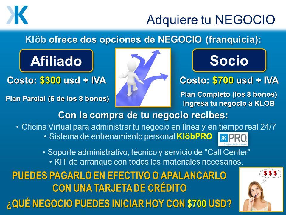 Klöb ofrece dos opciones de NEGOCIO (franquicia): Afiliado Socio Con la compra de tu negocio recibes: Oficina Virtual para administrar tu negocio en línea y en tiempo real 24/7 Sistema de entrenamiento personal KlöbPRO..