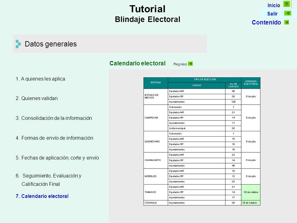 Inicio Salir Tutorial Blindaje Electoral Datos generales Calendario electoral 5.