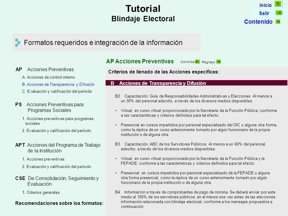 Inicio Salir Tutorial Blindaje Electoral Formatos requeridos e integración de la información AP Acciones Preventivas Continúa Regreso Criterios de llenado de las Acciones específicas: B Acciones de Transparencia y Difusión B2.