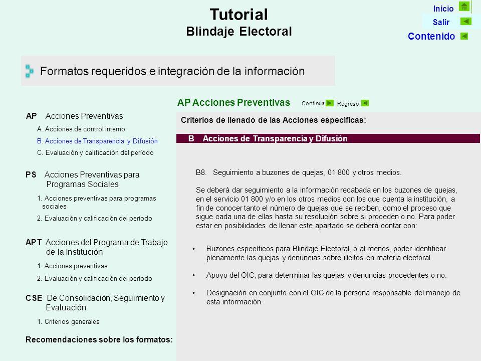 Inicio Salir Tutorial Blindaje Electoral Formatos requeridos e integración de la información AP Acciones Preventivas Continúa Regreso Criterios de llenado de las Acciones específicas: B Acciones de Transparencia y Difusión B8.