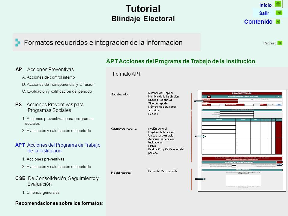 Inicio Salir Tutorial Blindaje Electoral Formatos requeridos e integración de la información APT Acciones del Programa de Trabajo de la Institución Formato APT AP Acciones Preventivas C.