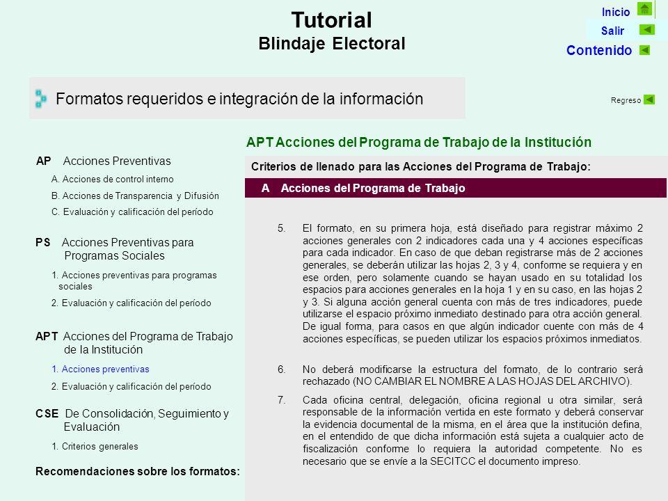 Inicio Salir Tutorial Blindaje Electoral Formatos requeridos e integración de la información AP Acciones Preventivas C.