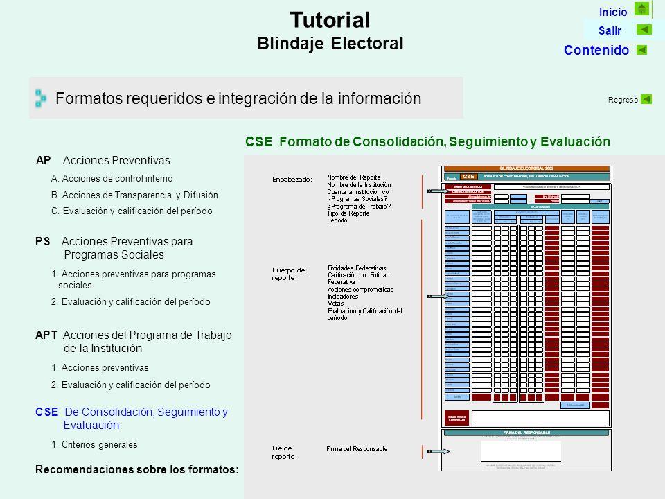 Inicio Salir Tutorial Blindaje Electoral Formatos requeridos e integración de la información CSE Formato de Consolidación, Seguimiento y Evaluación AP Acciones Preventivas C.