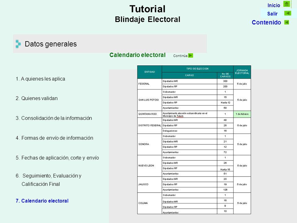 Inicio Salir Tutorial Blindaje Electoral Datos generales Calendario electoral Continúa 5.