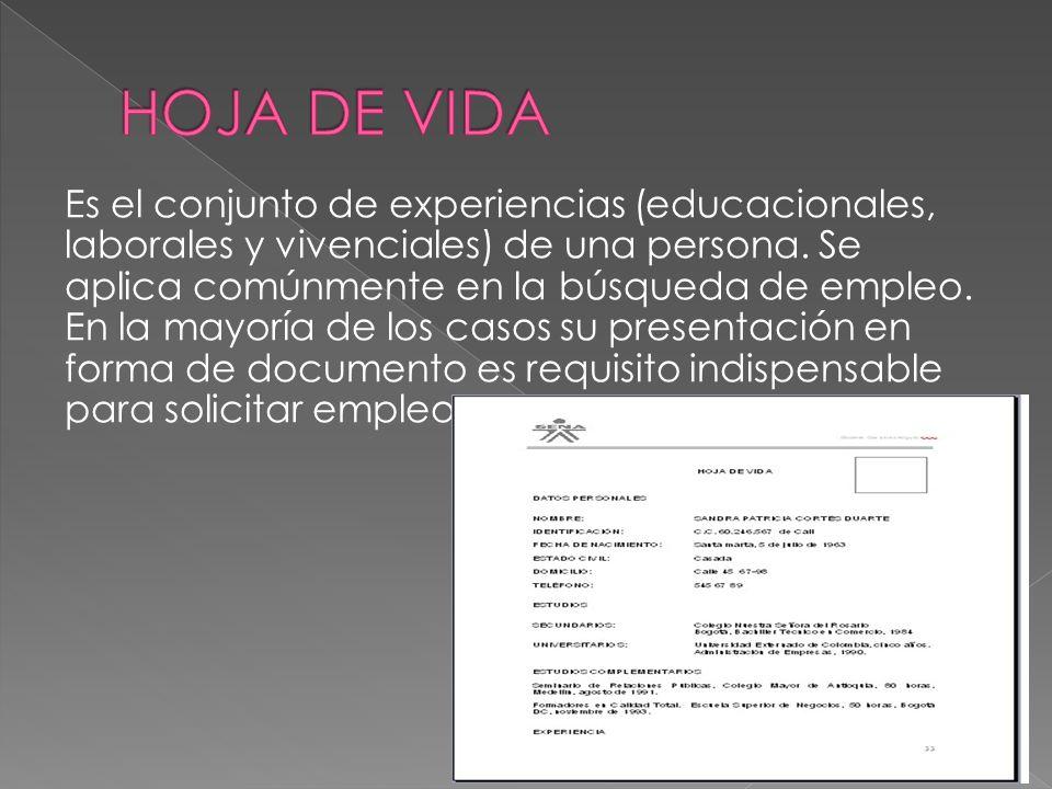 Es el conjunto de experiencias (educacionales, laborales y vivenciales) de una persona. Se aplica comúnmente en la búsqueda de empleo. En la mayoría d