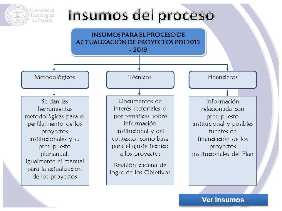 Se dan las herramientas metodológicas para el perfilamiento de los proyectos institucionales y su presupuesto plurianual. Igualmente el manual para la