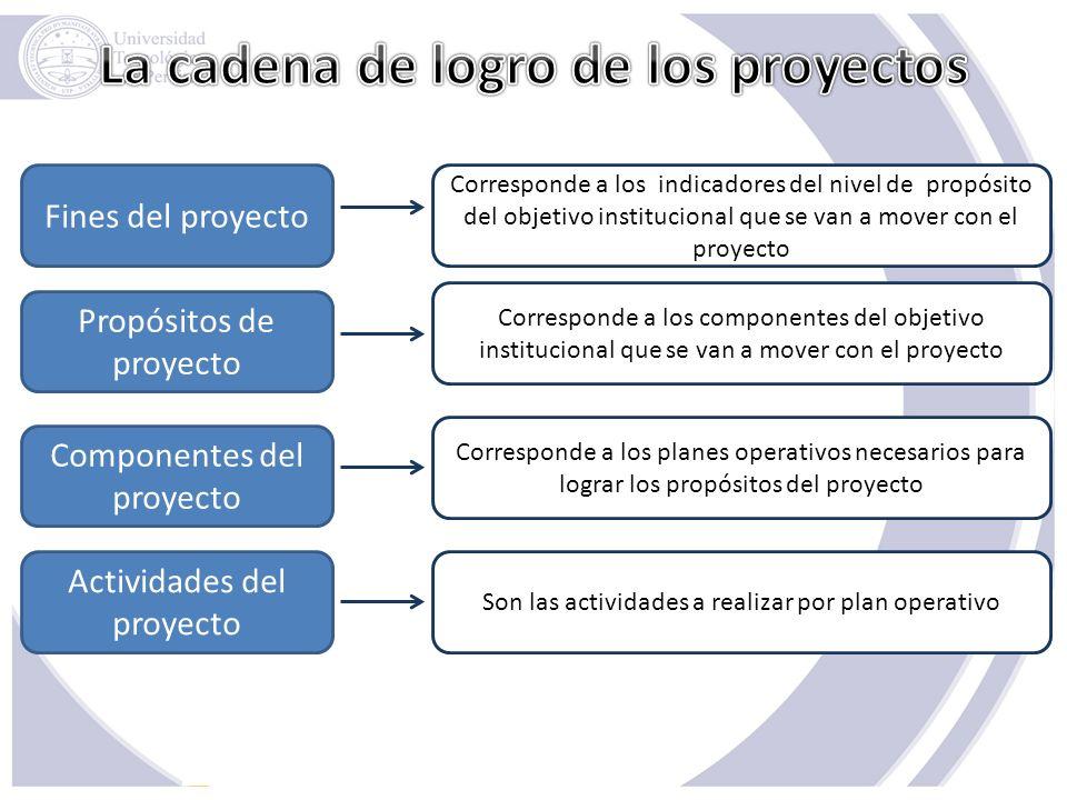 Fines del proyecto Propósitos de proyecto Componentes del proyecto Actividades del proyecto Corresponde a los indicadores del nivel de propósito del o