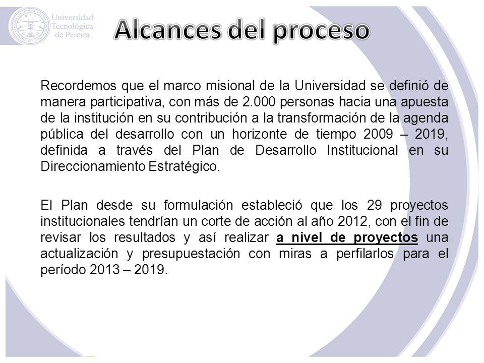 Recordemos que el marco misional de la Universidad se definió de manera participativa, con más de 2.000 personas hacia una apuesta de la institución e