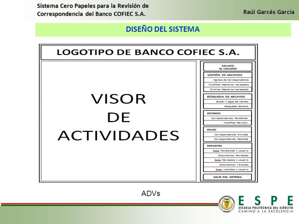 DISEÑO DEL SISTEMA Sistema Cero Papeles para la Revisión de Correspondencia del Banco COFIEC S.A. Raúl Garcés García ADVs