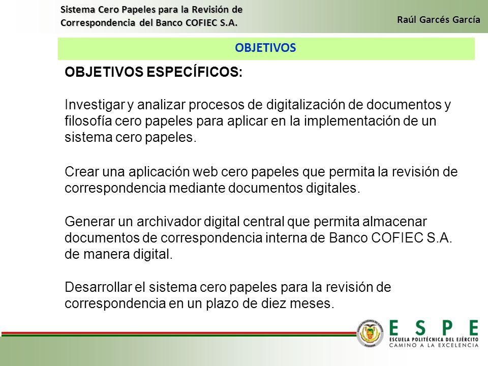 OBJETIVOS Sistema Cero Papeles para la Revisión de Correspondencia del Banco COFIEC S.A. Raúl Garcés García OBJETIVOS ESPECÍFICOS: Investigar y analiz