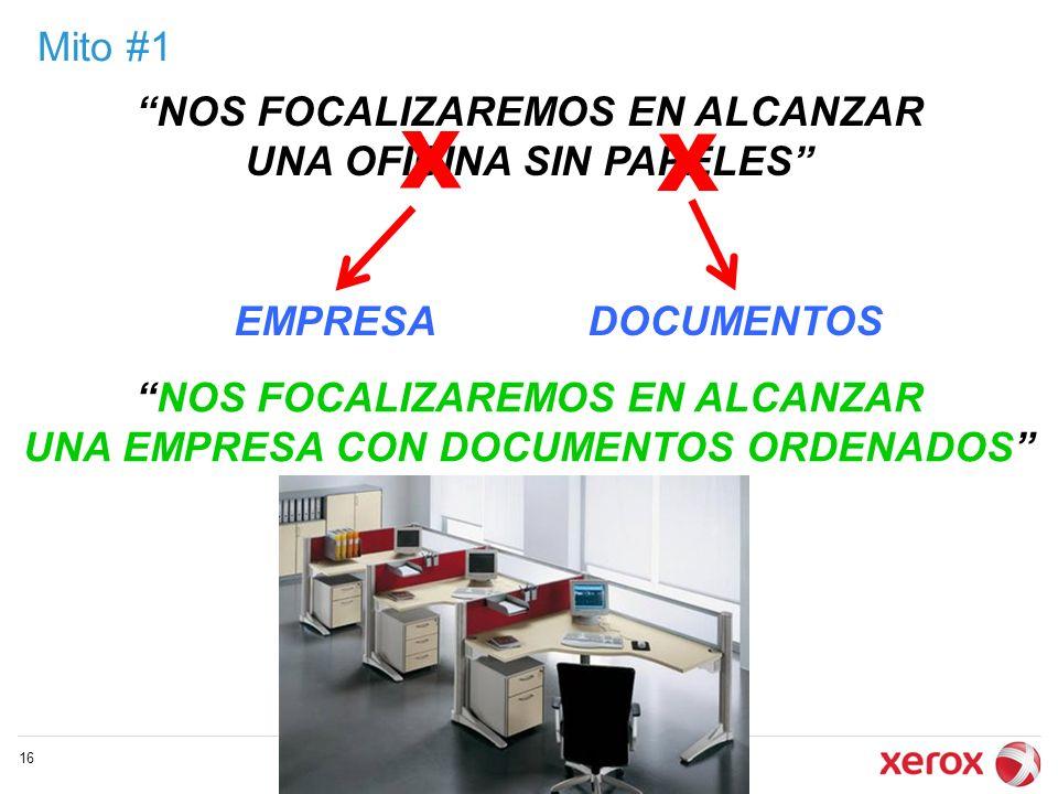 Mito #1 © 2009 Xerox Global Services 16 NOS FOCALIZAREMOS EN ALCANZAR UNA OFICINA SIN PAPELES NOS FOCALIZAREMOS EN ALCANZAR UNA EMPRESA CON DOCUMENTOS