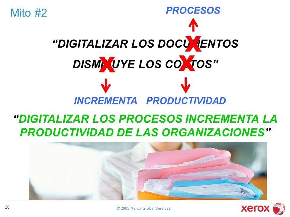 Mito #2 © 2009 Xerox Global Services 20 DIGITALIZAR LOS DOCUMENTOS DISMINUYE LOS COSTOS X X INCREMENTA PROCESOS X PRODUCTIVIDAD DIGITALIZAR LOS PROCES