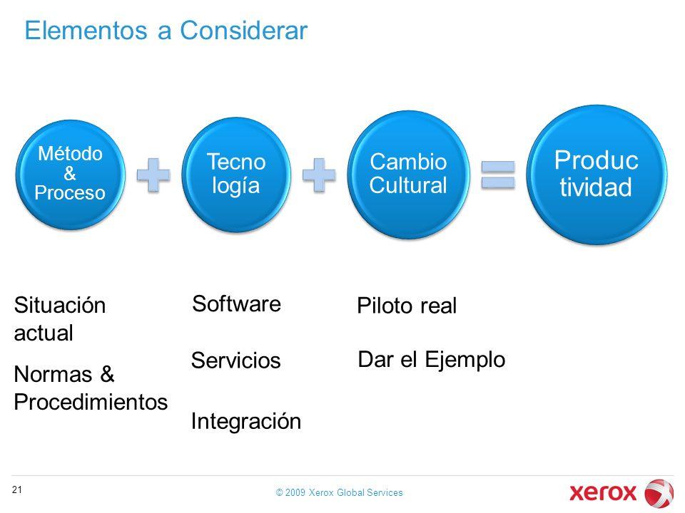 Elementos a Considerar © 2009 Xerox Global Services 21 Método & Proceso Tecno logía Cambio Cultural Produc tividad Situación actual Normas & Procedimi