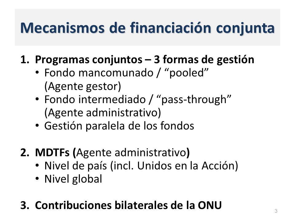 Mecanismos de financiación conjunta 1.Programas conjuntos – 3 formas de gestión Fondo mancomunado / pooled (Agente gestor) Fondo intermediado / pass-through (Agente administrativo) Gestión paralela de los fondos 2.