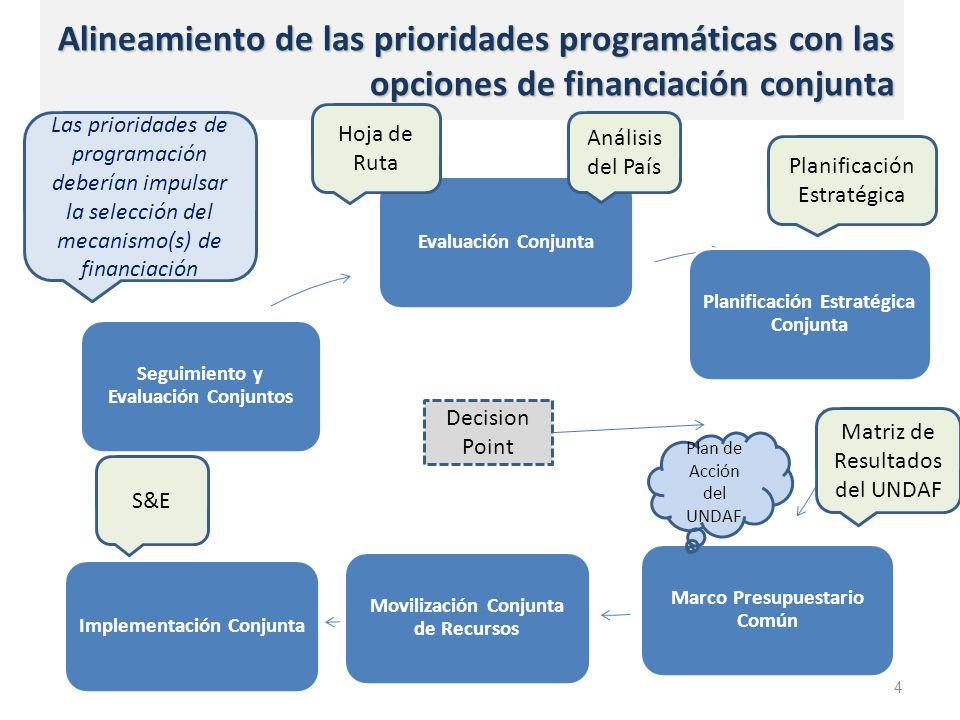 Alineamiento de las prioridades programáticas con las opciones de financiación conjunta 4 Decision Point Las prioridades de programación deberían impulsar la selección del mecanismo(s) de financiación Evaluación Conjunta Planificación Estratégica Conjunta Marco Presupuestario Común Movilización Conjunta de Recursos Implementación Conjunta Seguimiento y Evaluación Conjuntos Análisis del País Planificación Estratégica Matriz de Resultados del UNDAF S&E Hoja de Ruta Plan de Acción del UNDAF
