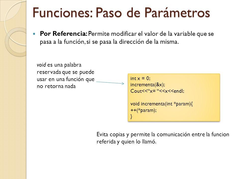 Funciones: Paso de Parámetros Por Referencia: Permite modificar el valor de la variable que se pasa a la función, si se pasa la dirección de la misma.