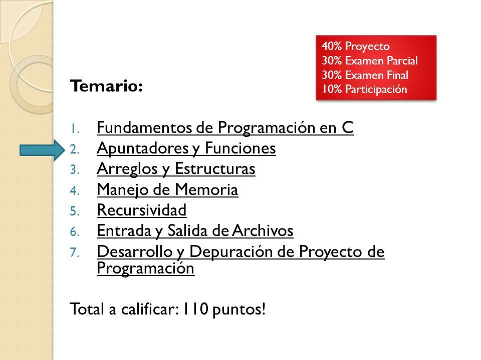 Temario: 1.Fundamentos de Programación en C 2. Apuntadores y Funciones 3.