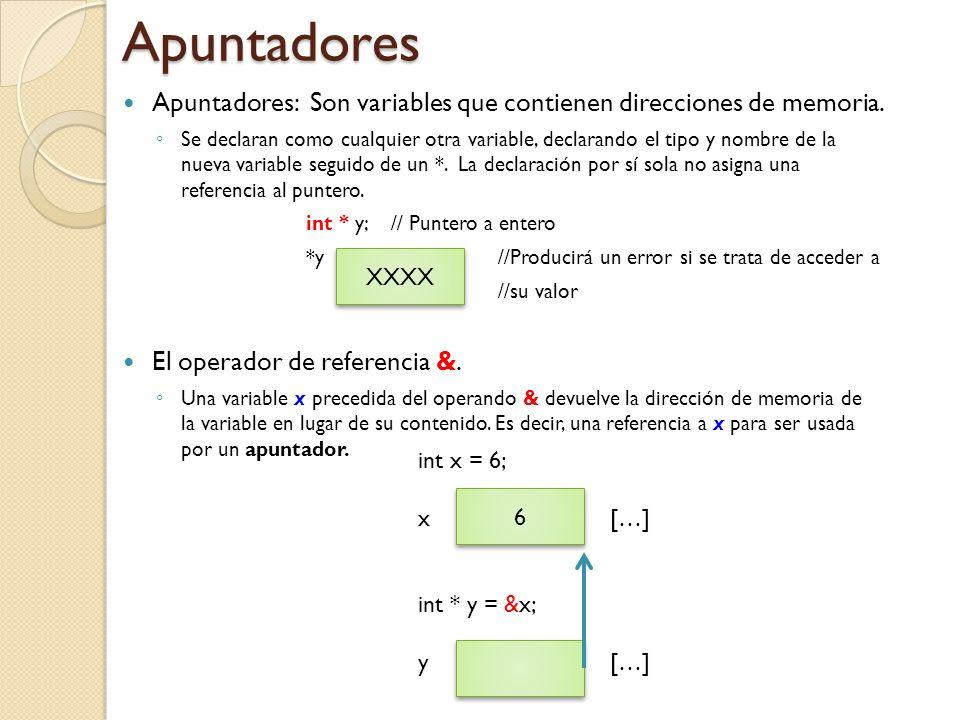Apuntadores: Son variables que contienen direcciones de memoria.
