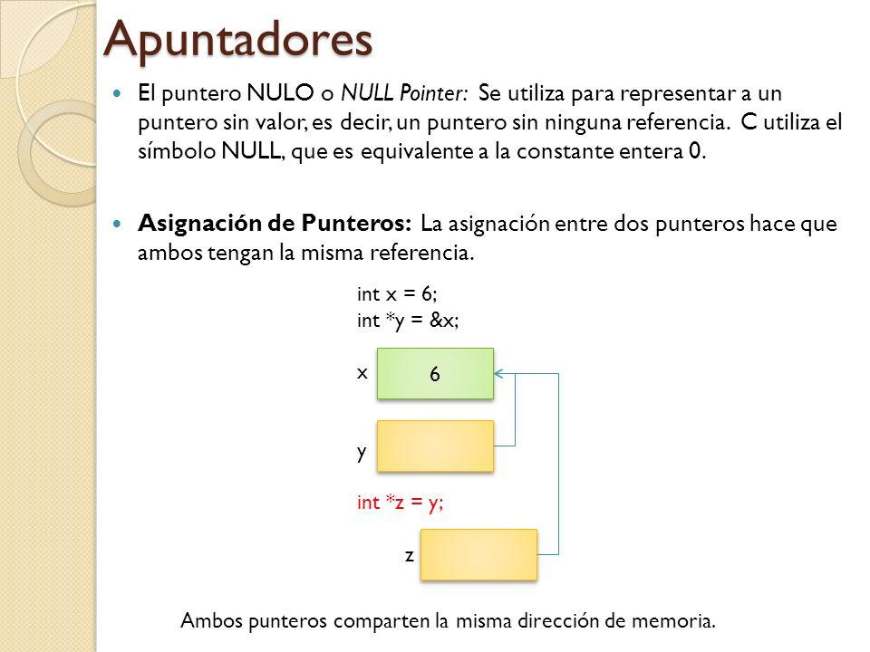 Apuntadores El puntero NULO o NULL Pointer: Se utiliza para representar a un puntero sin valor, es decir, un puntero sin ninguna referencia.