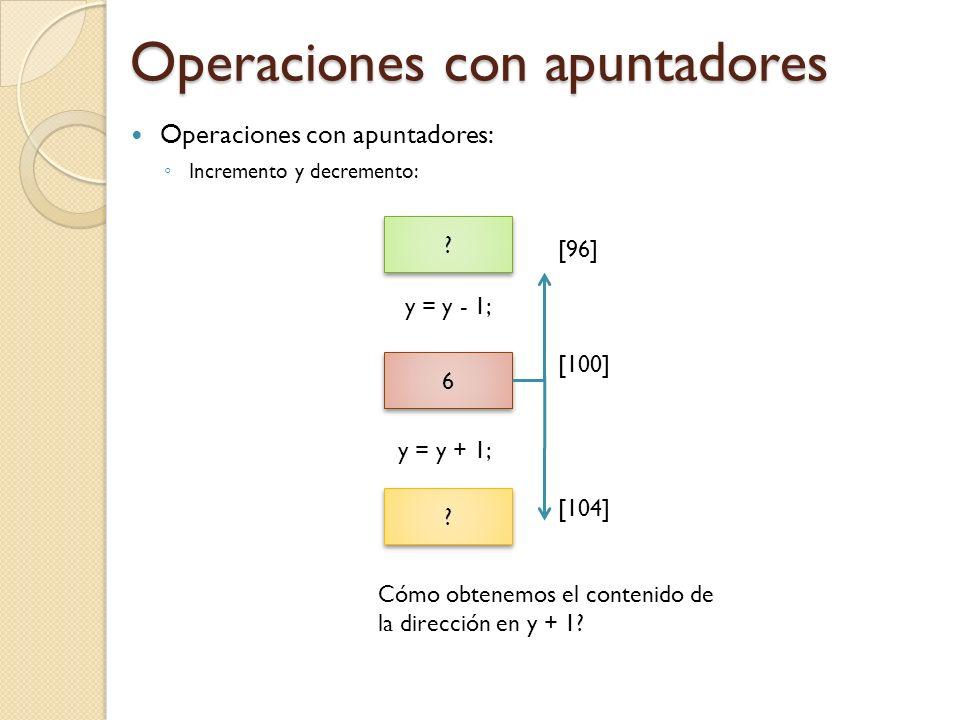 Operaciones con apuntadores Operaciones con apuntadores: Incremento y decremento: [96] y = y - 1; [100] y = y + 1; [104] Cómo obtenemos el contenido de la dirección en y + 1.