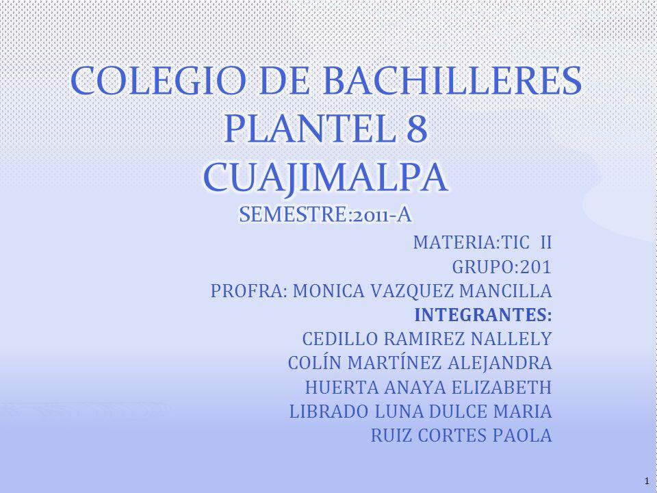 MATERIA:TIC II GRUPO:201 PROFRA: MONICA VAZQUEZ MANCILLA INTEGRANTES: CEDILLO RAMIREZ NALLELY COLÍN MARTÍNEZ ALEJANDRA HUERTA ANAYA ELIZABETH LIBRADO LUNA DULCE MARIA RUIZ CORTES PAOLA 1