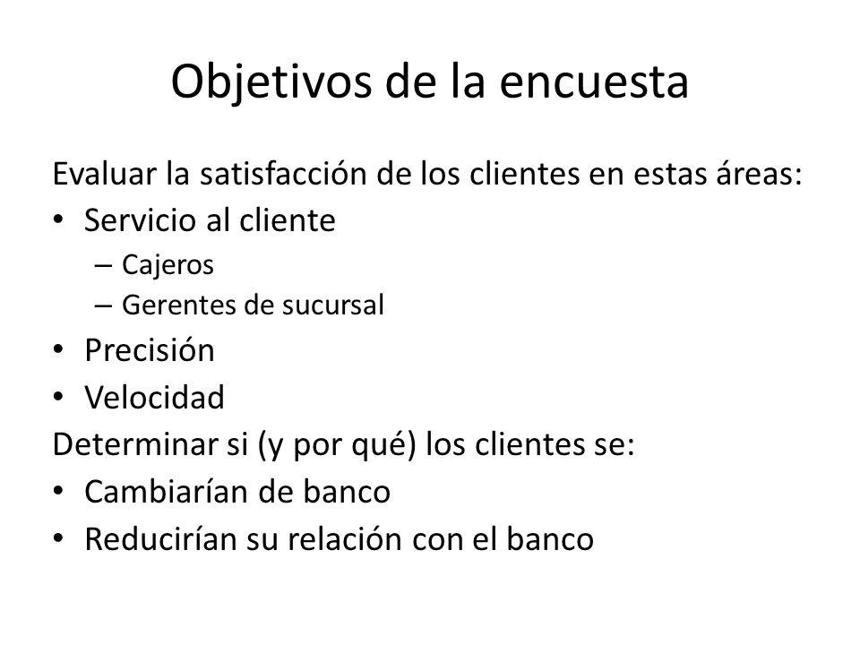 Objetivos de la encuesta Evaluar la satisfacción de los clientes en estas áreas: Servicio al cliente – Cajeros – Gerentes de sucursal Precisión Veloci