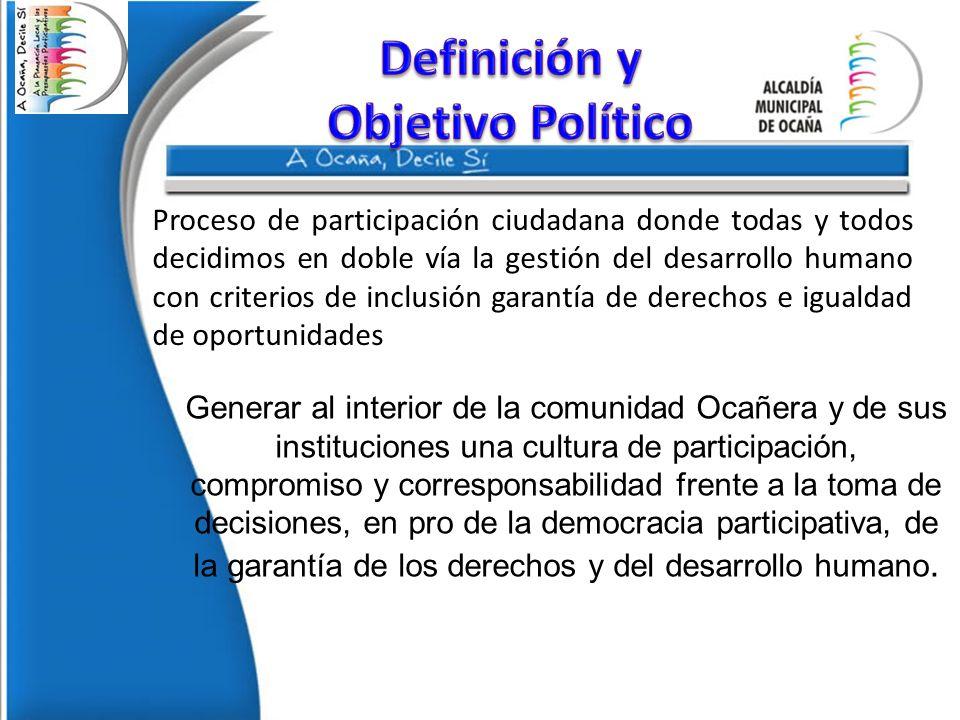 Proceso de participación ciudadana donde todas y todos decidimos en doble vía la gestión del desarrollo humano con criterios de inclusión garantía de