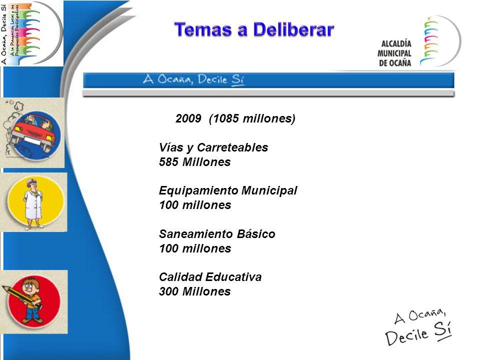 2009 (1085 millones) Vías y Carreteables 585 Millones Equipamiento Municipal 100 millones Saneamiento Básico 100 millones Calidad Educativa 300 Millon