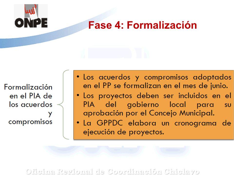 Fase 4: Formalización Oficina Regional de Coordinación Chiclayo