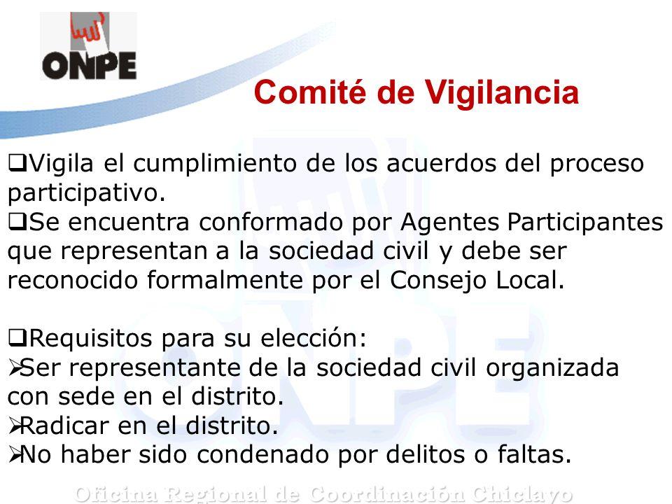 Comité de Vigilancia Vigila el cumplimiento de los acuerdos del proceso participativo. Se encuentra conformado por Agentes Participantes que represent