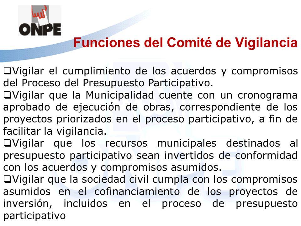 Funciones del Comité de Vigilancia Vigilar el cumplimiento de los acuerdos y compromisos del Proceso del Presupuesto Participativo. Vigilar que la Mun