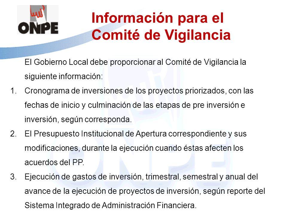 Información para el Comité de Vigilancia El Gobierno Local debe proporcionar al Comité de Vigilancia la siguiente información: 1.Cronograma de inversi