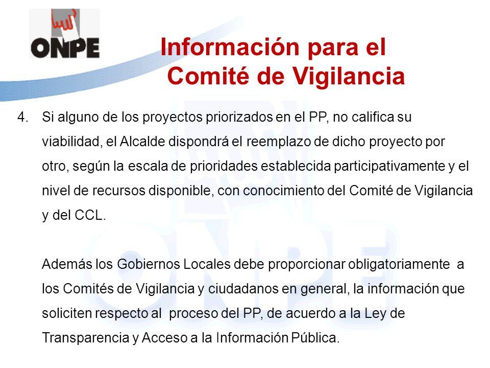 Información para el Comité de Vigilancia 4.Si alguno de los proyectos priorizados en el PP, no califica su viabilidad, el Alcalde dispondrá el reempla
