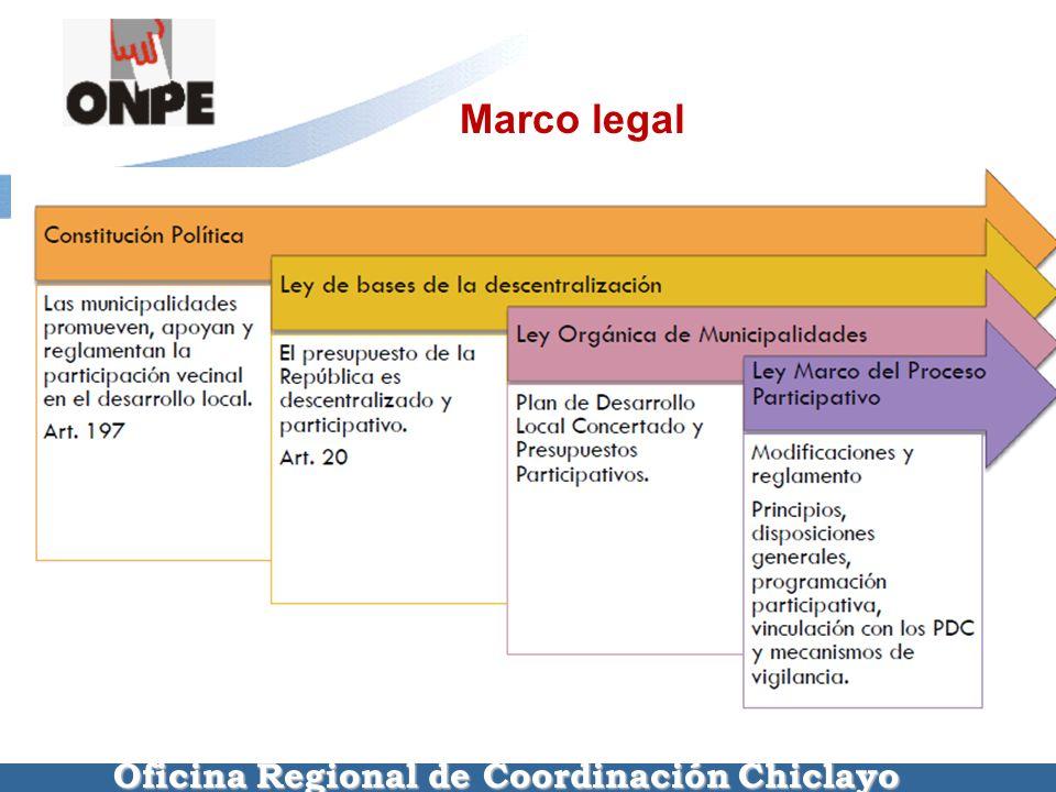 Oficina Regional de Coordinación Chiclayo Marco legal