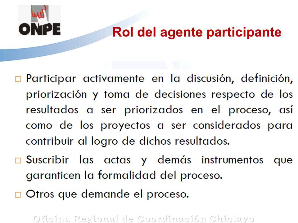 Rol del agente participante Oficina Regional de Coordinación Chiclayo