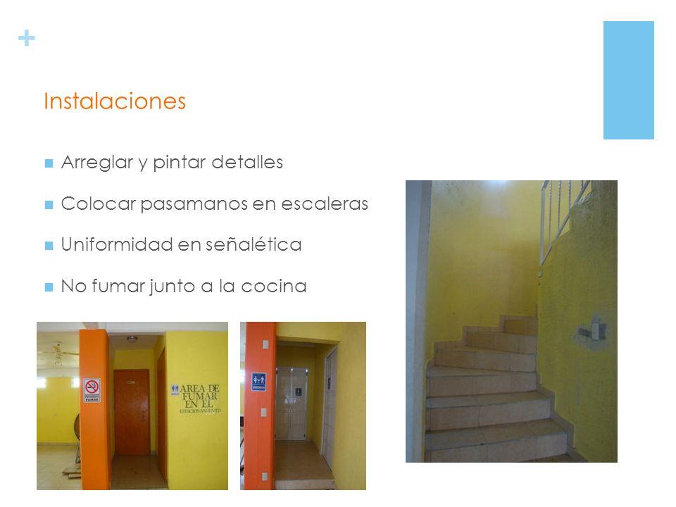 + Arreglar y pintar detalles Colocar pasamanos en escaleras Uniformidad en señalética No fumar junto a la cocina Instalaciones