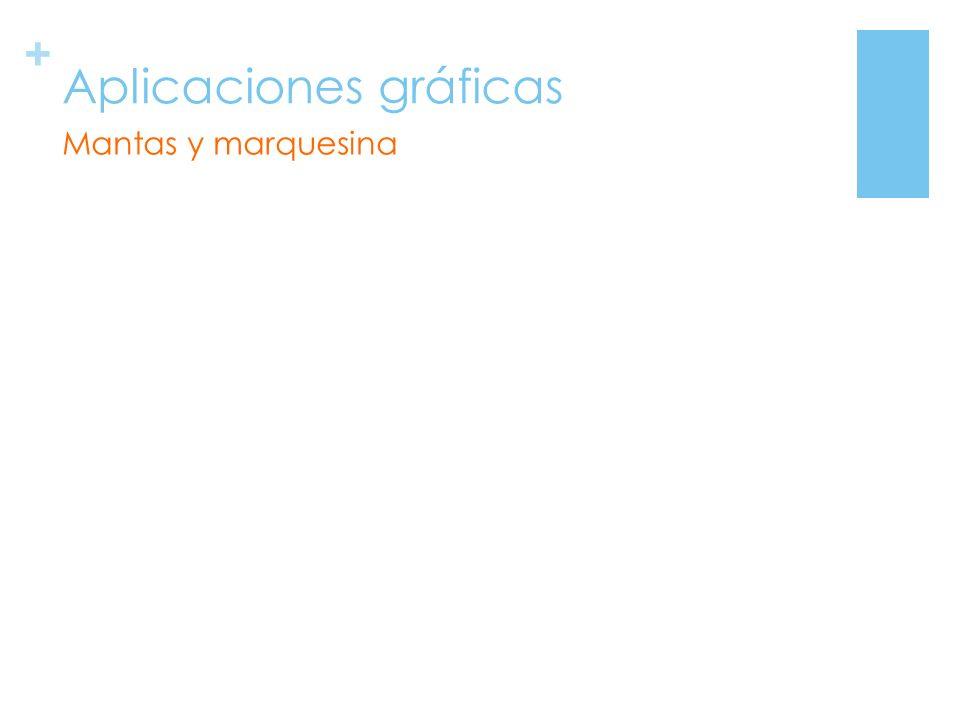 + Aplicaciones gráficas Mantas y marquesina