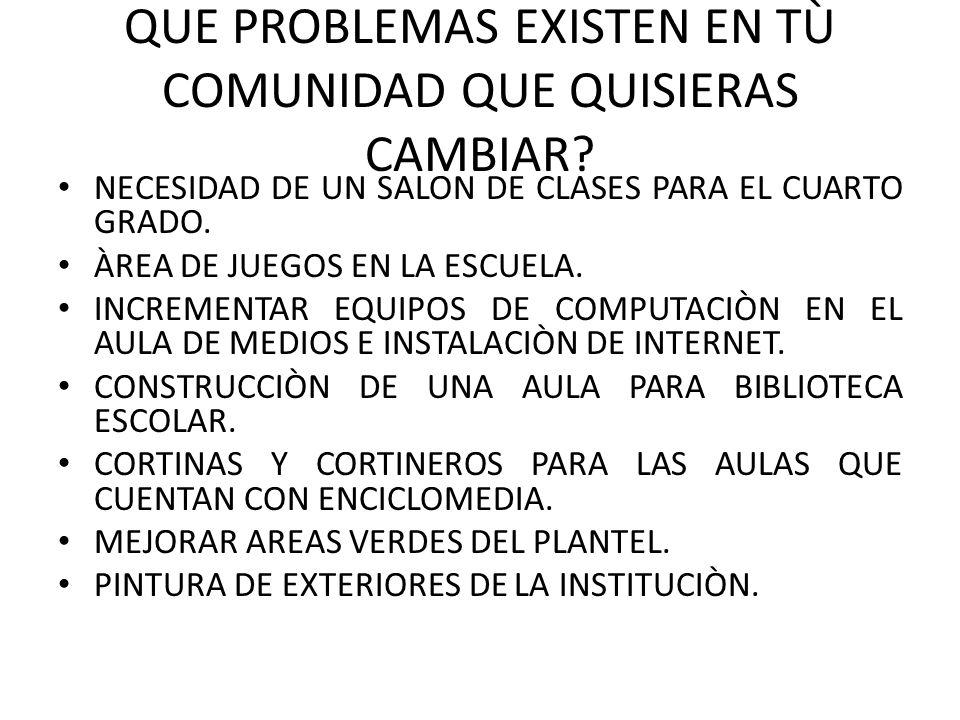 QUE PROBLEMAS EXISTEN EN TÙ COMUNIDAD QUE QUISIERAS CAMBIAR.