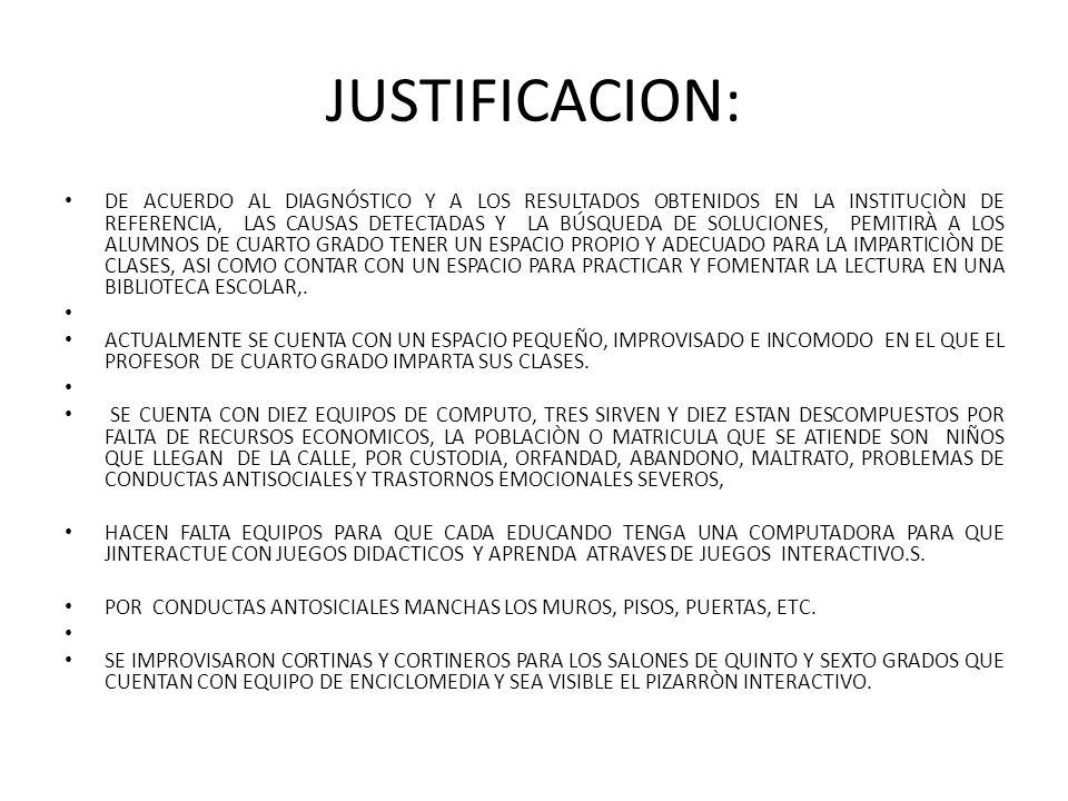 JUSTIFICACION: DE ACUERDO AL DIAGNÓSTICO Y A LOS RESULTADOS OBTENIDOS EN LA INSTITUCIÒN DE REFERENCIA, LAS CAUSAS DETECTADAS Y LA BÚSQUEDA DE SOLUCIONES, PEMITIRÀ A LOS ALUMNOS DE CUARTO GRADO TENER UN ESPACIO PROPIO Y ADECUADO PARA LA IMPARTICIÒN DE CLASES, ASI COMO CONTAR CON UN ESPACIO PARA PRACTICAR Y FOMENTAR LA LECTURA EN UNA BIBLIOTECA ESCOLAR,.