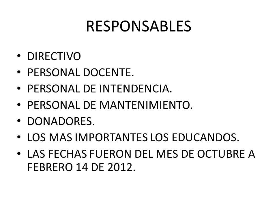 RESPONSABLES DIRECTIVO PERSONAL DOCENTE.PERSONAL DE INTENDENCIA.