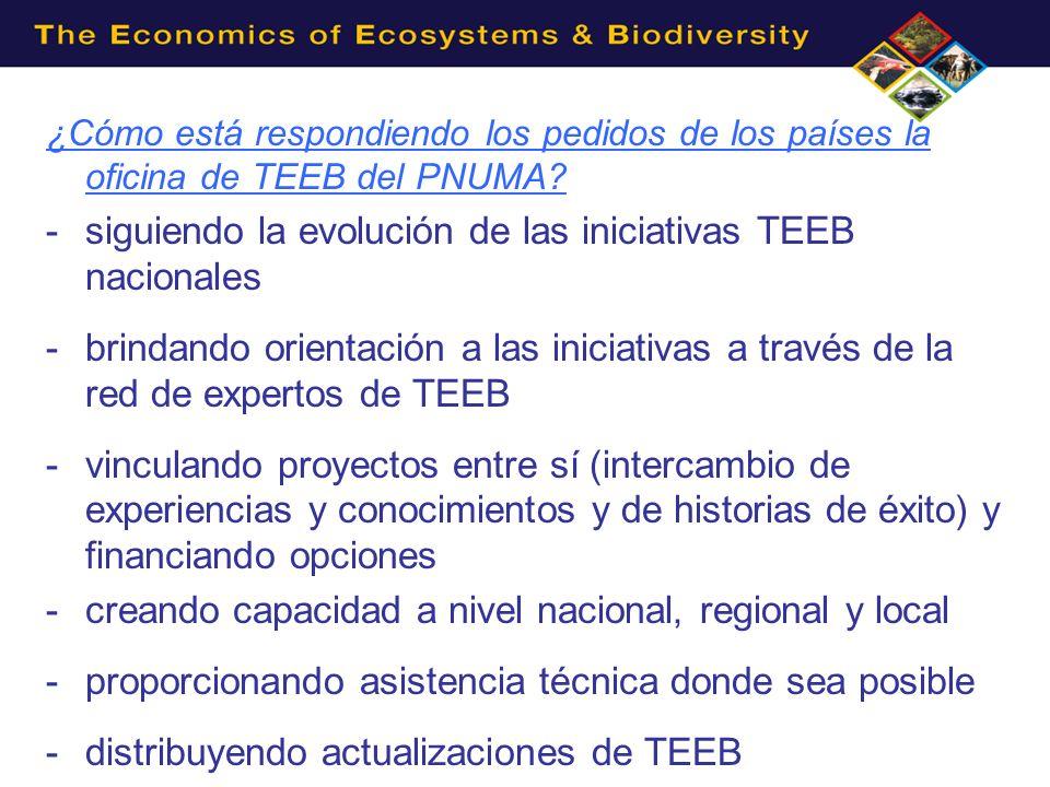 ¿Cómo está respondiendo los pedidos de los países la oficina de TEEB del PNUMA? -siguiendo la evolución de las iniciativas TEEB nacionales -brindando