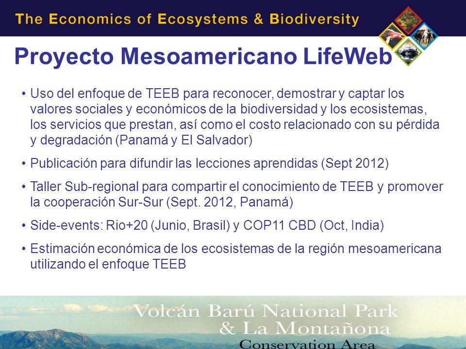 Proyecto Mesoamericano LifeWeb Uso del enfoque de TEEB para reconocer, demostrar y captar los valores sociales y económicos de la biodiversidad y los