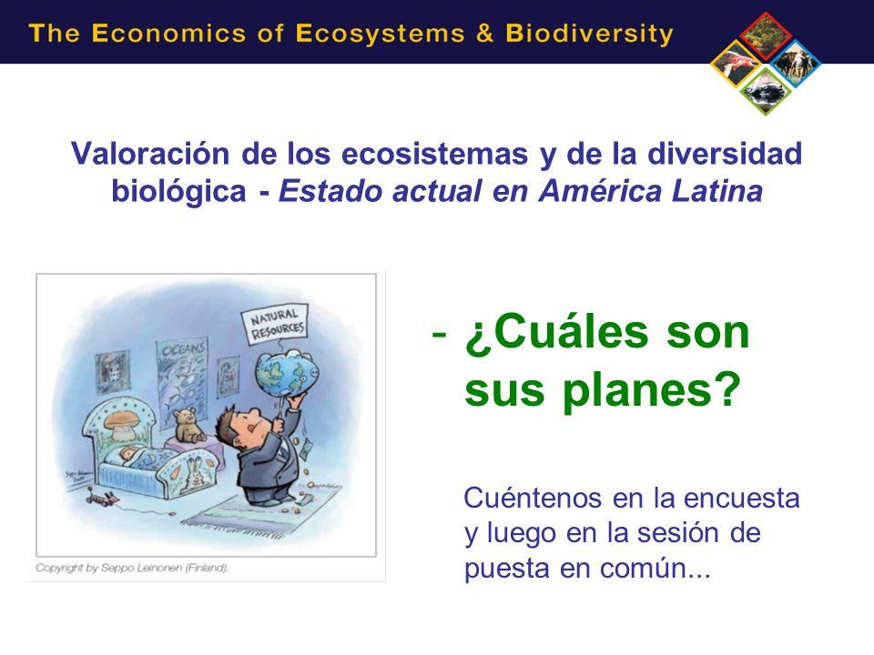 Valoración de los ecosistemas y de la diversidad biológica - Estado actual en América Latina -¿Cuáles son sus planes? Cuéntenos en la encuesta y luego