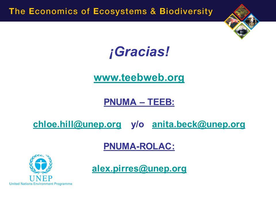 ¡Gracias! www.teebweb.org PNUMA – TEEB: chloe.hill@unep.orgchloe.hill@unep.org y/o anita.beck@unep.organita.beck@unep.org PNUMA-ROLAC: alex.pirres@une