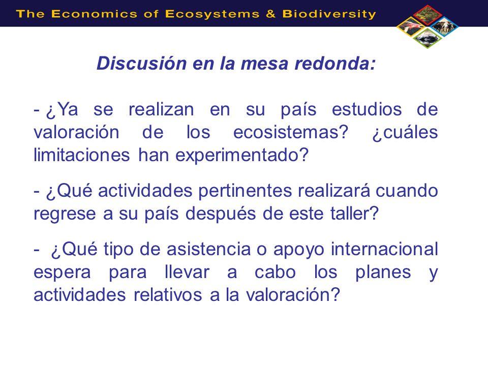Discusión en la mesa redonda: - ¿Ya se realizan en su país estudios de valoración de los ecosistemas? ¿cuáles limitaciones han experimentado? - ¿Qué a