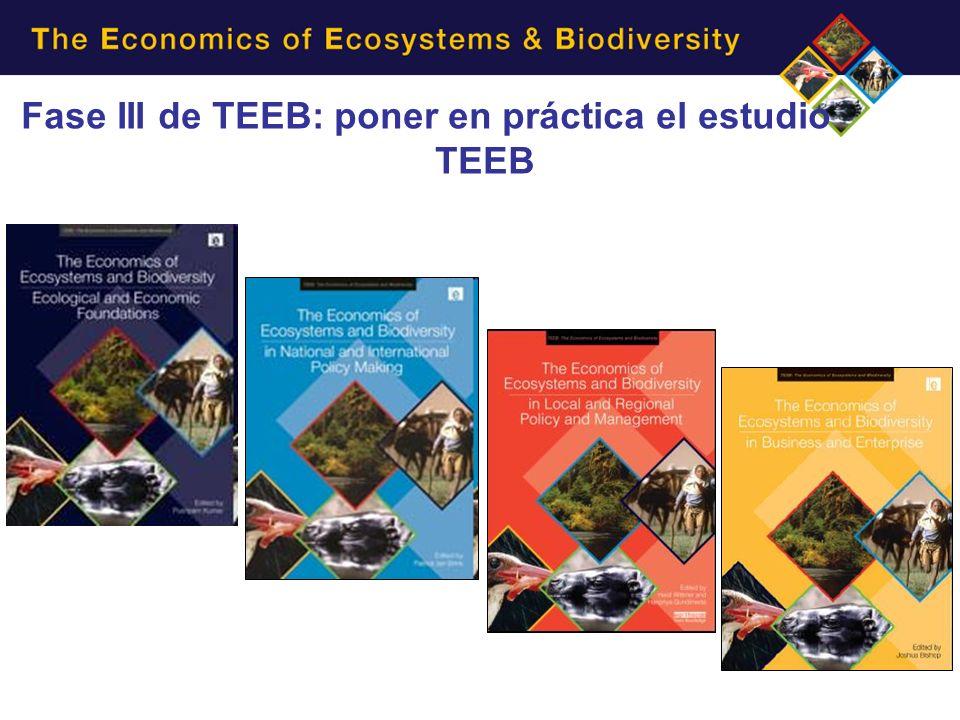 Principales informes de TEEB Fase III de TEEB: poner en práctica el estudio TEEB